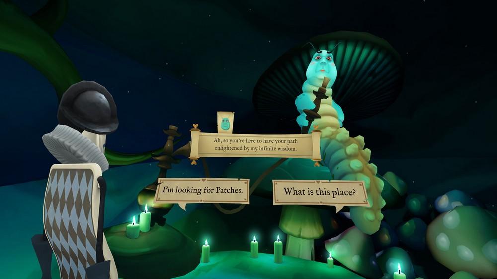 Gesprächsansicht in der ersten Person im VR-Spiel Down The Rabbit Hole