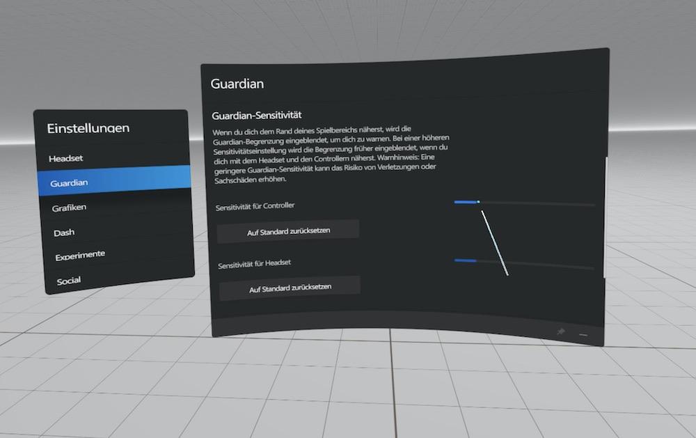 Oculus Rift S Guardian Sensitivität