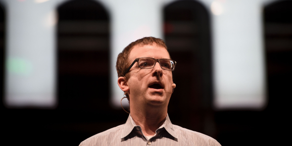 Facebook CTO Mike Schroepfer delivers a speech during the the Web Summit at Parque das Nacoes in Lisbon on November 8, 2016